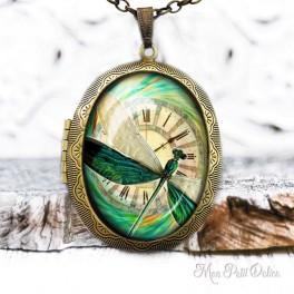 Camafeo-portafoto-vintage-libelula-verde-reloj-cabuchon-cristal-photo-locket-dragonfly-steampunk-clock-cabochon-glass-bronze