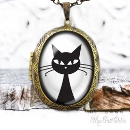 Camafeo-portafoto-vintage-gato-negro-cara-cabuchon-cristal-photo-locket-black-cat-face-cabochon-glass-tile-bronze