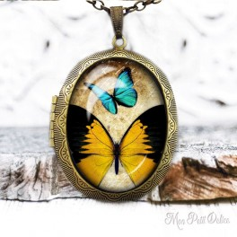 Camafeo-portafoto-vintage-mariposa-amarilla-cabuchon-cristal-photo-locket-yellow-butterfly-cabochon-glass-tile-bronze