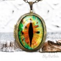 Vintage Green Cat Eye Photo Locket Necklace