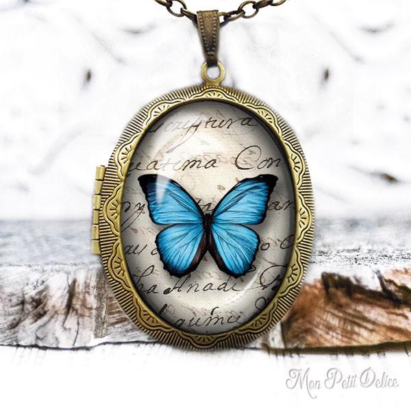 Vintage Blue Butterfly Photo Locket Necklace