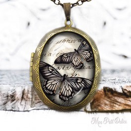 Camafeo-portafoto-mariposa-vintage-negra-colgante-cristal-photo-locket-black-butterfly-necklace-vintage