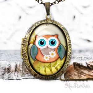 Camafeo-portafoto-vintage-buho-amarillo-cabuchon-cristal-photo-locket-owl-cabochon-glass-tile-bronze