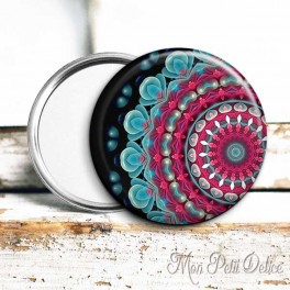 espejo-bolsillo-mandala-turquesa-rosa-watercolor-floral-pocket-mirror-pink-button-badge-ethnic