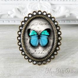 Anillo Ajustable Vintage Mariposa Azul