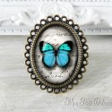 Vintage Blue Butterfly Adjustable Oval Ring