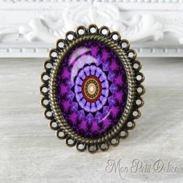 Anillo Oval Ajustable Vintage Mandala Lila