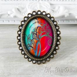 anillo-rococo-vintage-arbol-vida-fantasia-bronce-cabuchon-cristal-ring-cabochon-bronze-glass-fantasy-tree-life