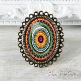 Anillo Oval Ajustable Vintage Mandala Naranja