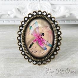Anillo Oval Ajustable Vintage Libelula Rosa