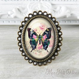 Anillo Oval Ajustable Vintage Mariposa Colorida Floral