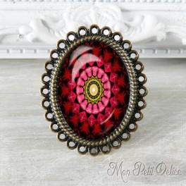Anillo Oval Ajustable Vintage Mandala Rojo