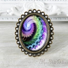anillo-rococo-vintage-fractal-lila-bronce-cabuchon-cristal-ring-cabochon-bronze-glass-fractal-purple