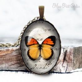 collar-colgante-mariposa-naranja-vintage-cabuchon-cristal-necklace-pendant-buterrfly-orange-bronze-cabochon-glass