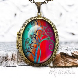 Camafeo-portafoto-vintage-arbol-fantasia-vida-floral-cabuchon-cristal-photo-locket-tree-life-fantasy-cabochon-glass-tile-bronze