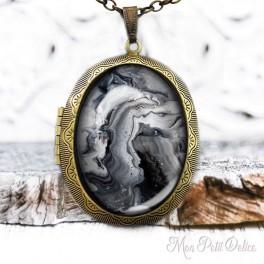 Camafeo-portafoto-vintage-marmolado-blanco-negro-cabuchon-cristal-photo-locket-black-white-marble-cabochon-marbles-glass-bronze