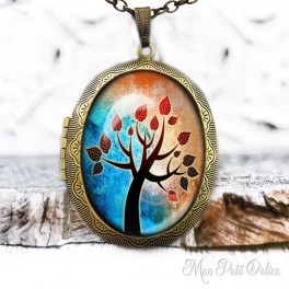 Camafeo-portafoto-vintage-arbol-marron-vida-floral-cabuchon-cristal-photo-locket-tree-life-brown-cabochon-glass-tile-bronze