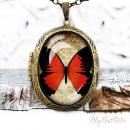 Camafeo-portafoto-relicario-vintage-mariposa-roja-cabuchon-cristal-photo-locket-red-butterfly-cabochon-glass-tile-bronze