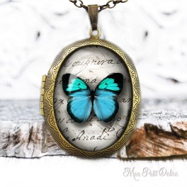 Vintage Blue Butterfly Photo Locket Necklace