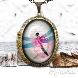 Camafeo-portafoto-relicario-vintage-libelula-rosa-floral-cabuchon-cristal-photo-locket-pink-dragonfly-cabochon-glass-tile-bronze