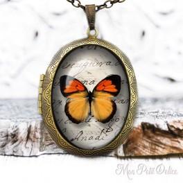 Camafeo Collar Portafoto Relicario Mariposa Naranja Vintage