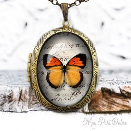 Camafeo-portafoto-relicario-vintage-mariposa-naranja-cabuchon-cristal-photo-locket-orange-butterfly-cabochon-glass-bronze