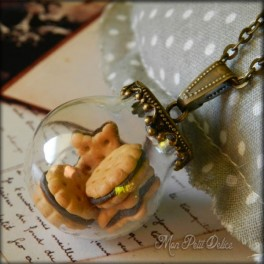Glass Globe, Ball Chocolate Cookies Necklace