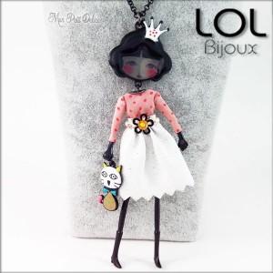 Les Pépettes - Collar largo muñeca de esmalte Rosa Anne , lol bijoux lolilota
