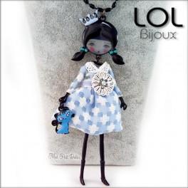 Les Pépettes - Collar largo muñeca de esmalte Azul Katie , lol bijoux lolilota