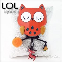 Broche-chouette-pompom-naranja-buo-buho-esmalte-lol-bijoux-enamel-owl-orange-brooch-lolilota