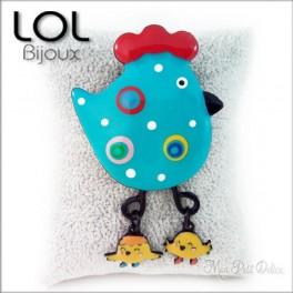 Broche-chick-pollo-gallina-azul-esmalte-lol-bijoux-enamel-chicken-blue-poule-brooch-lolilota