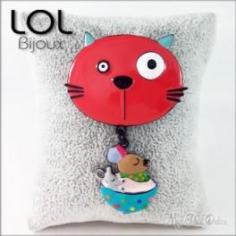 Broche-miaomiao-cup-gato-rojo-esmalte-lol-bijoux-enamel-cat-chat-red-brooch-lolilota