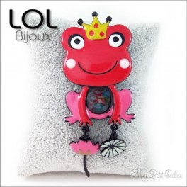 Broche-crapo-reina-rana-rojo-esmalte-lol-bijoux-enamel-frog-red-queen-grenouille-brooch-lolilota