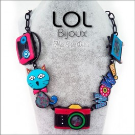 Cat Pop Art Camera Blue LOL Bijoux Necklace, Enamel Cat Necklace lolilota