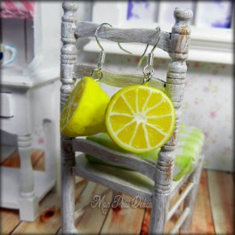 Lemon Fruit Dangle Earrings