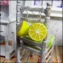 Lemon Fruit Dangle Earrings