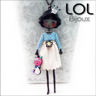 Les Pépettes - Collar largo muñeca de esmalte Azul Anne , lol bijoux lolilota