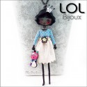 Les Pépettes - Large Doll Enamel Necklace Blue Anne, lol bijoux lolilota