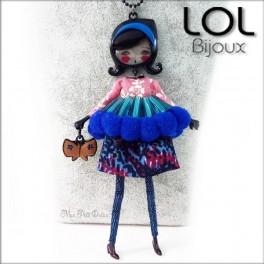 Les Pépettes - Collar largo muñeca de esmalte Azul Francoise , lol bijoux lolilota