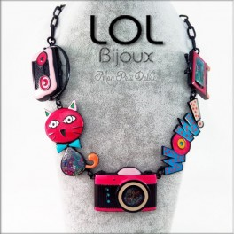 Collar-gato-pop-art-esmalte-camara-rojo-lol-bijoux-enamel-necklace-red-cat-lolilota-collier-chat