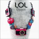 Cat Pop Art Camera Red LOL Bijoux Necklace, Enamel Cat Necklace lolilota