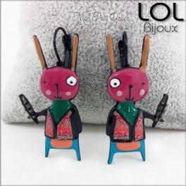 lol-bijoux-conejo-navajo-rosa-pendientes-esmalte-enamel-pink-bunny-lapin-earrings-emaux-lolilota-boucle-d´oreilles