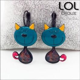 lol-bijoux-tom-gato-turquesa-pendientes-esmalte-enamel-turquoise-cat-earrings-emaux-lolilota-chat-boucle-d´oreilles
