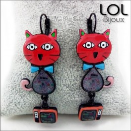 lol-bijoux-pop-art-tom-gato-rojo-pendientes-esmalte-enamel-red-cat-earrings-emaux-lolilota-chat-boucle-d´oreilles