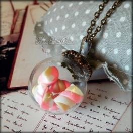 Glass Globe, Ball Pink Marshmallows Necklace