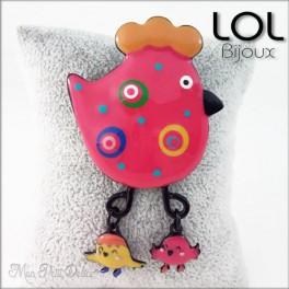 Broche-chick-pollo-gallina-rosa-esmalte-lol-bijoux-enamel-chicken-pink-poule-brooch-lolilota