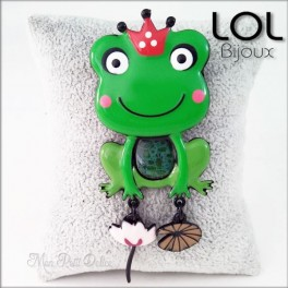 Broche-crapo-reina-rana-verde-esmalte-lol-bijoux-enamel-frog-green-queen-grenouille-brooch-lolilota