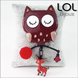 Broche-chouette-pompom-marron-buo-buho-esmalte-lol-bijoux-enamel-owl-brown-brooch-lolilota