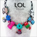 Tom Family Cat Blue LOL Bijoux Necklace, Enamel Cat Necklace lolilota