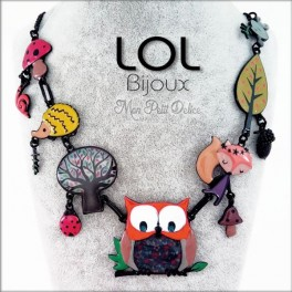 Collar Buho Naranja LOL Bijoux, buho de esmalte lolilota